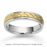 14k Two Tone Gold Elegant Smooth Braided Wedding Band